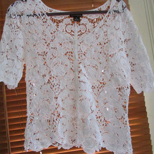 Say What Lace Cardigan blouse short sleeve Top M